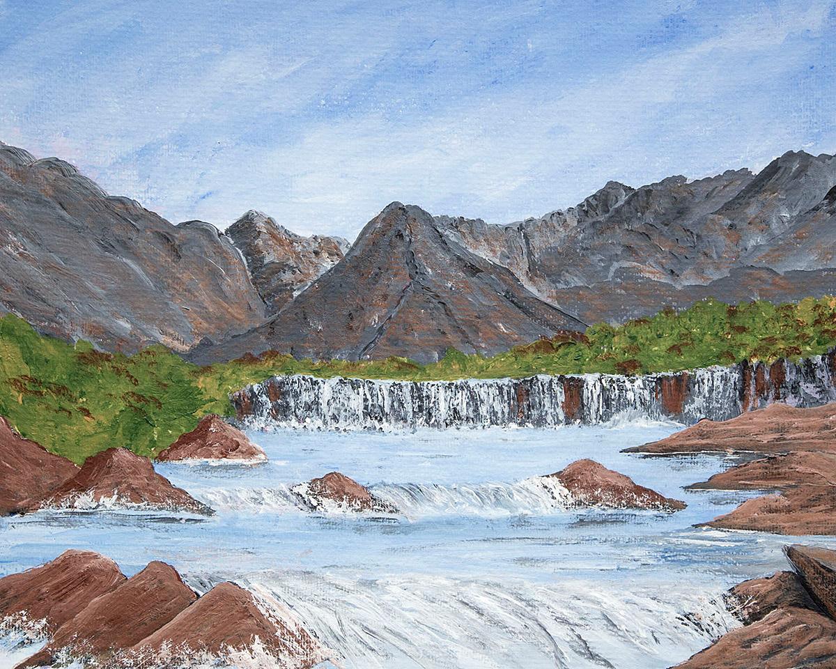 Original Acrylic Painting of the Fairy Pools, Isle of Skye