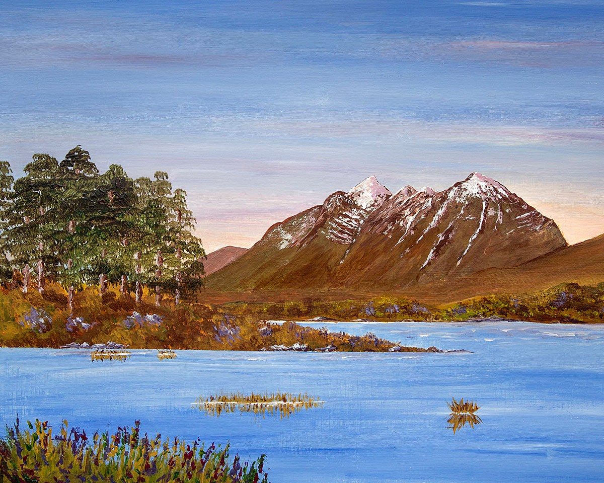 Original acrylic painting of Liathach from Loch Clair, Torridon, Scottish Highlands