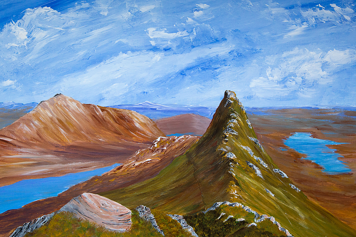 Original acrylic painting of Suilven and Canisp, Scottish Highlands