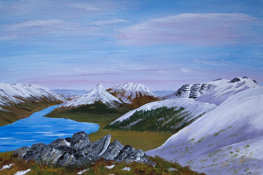 Glencoe, the Glen, landscape and mountain art, acrylic painting