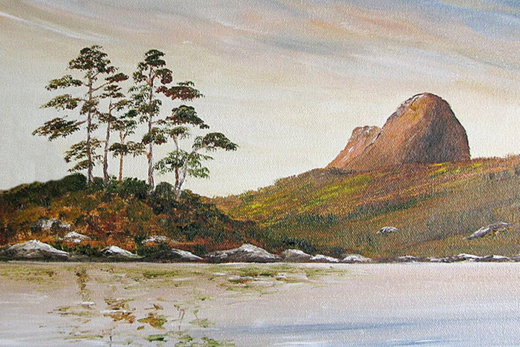 Suilven and Canisp oil painting, Landscape and mountain art