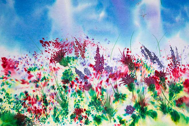 Thistles and Foxgloves Brusho painting, Landscape and mountain art