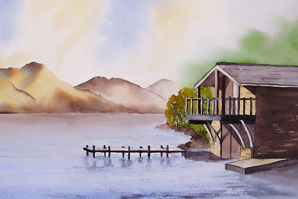 Ullswater watercolour painting, Landscape and mountain art