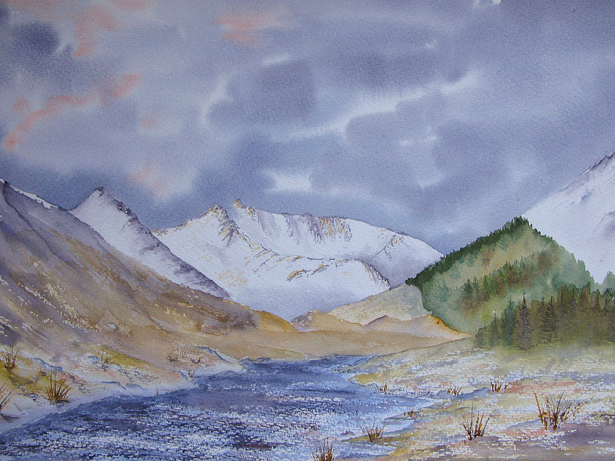 Original watercolour Painting of The Saddle and Glen Shiel in winter, Kintail