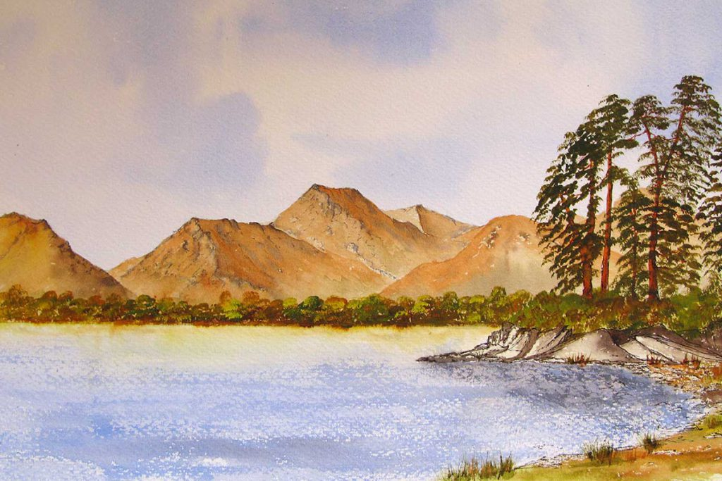 Friars Crag, Derwentwater, The Lake District, watercolour painting, Landscape and mountain art