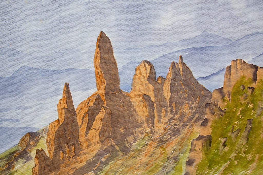 Old Man Of Storr, Isle of Skye watercolour painting, Landscape and mountain art