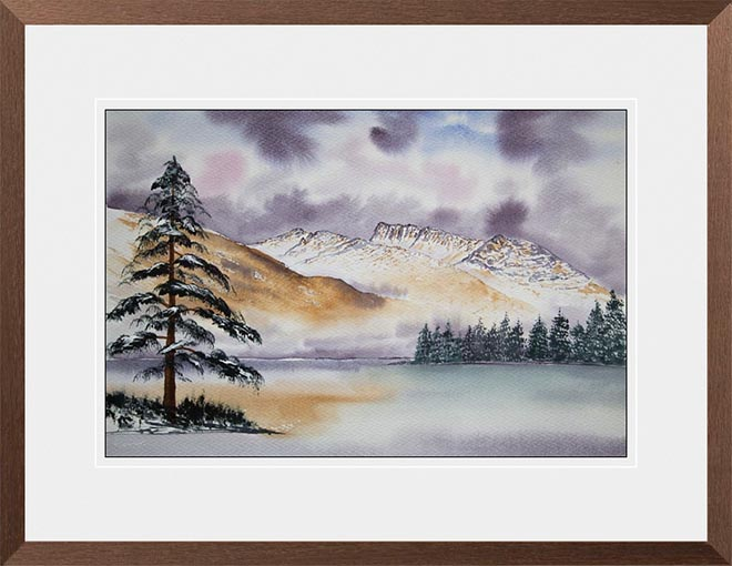 About the Paintings and Prints - Ben Nevis from Clunes Bay framed in wenge