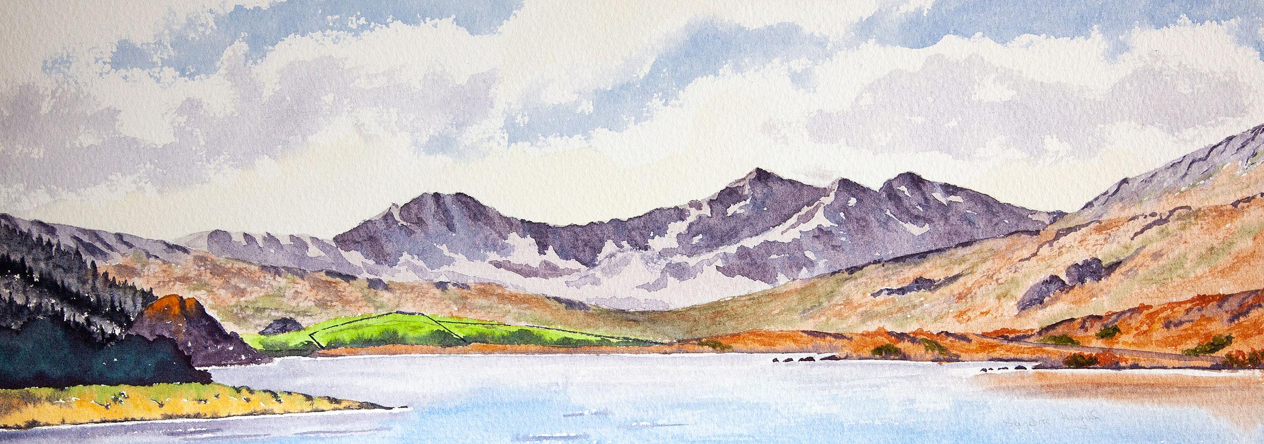 Snowdon Horseshoe painted in Watercolours