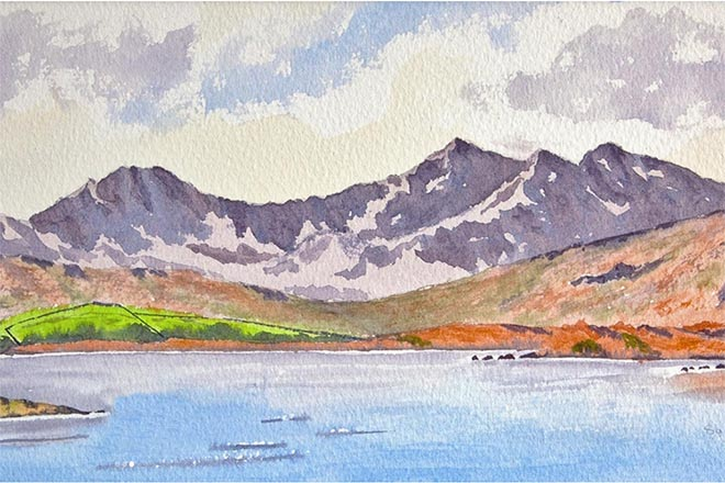 Snowdon watercolour painting, Landscape and mountain art