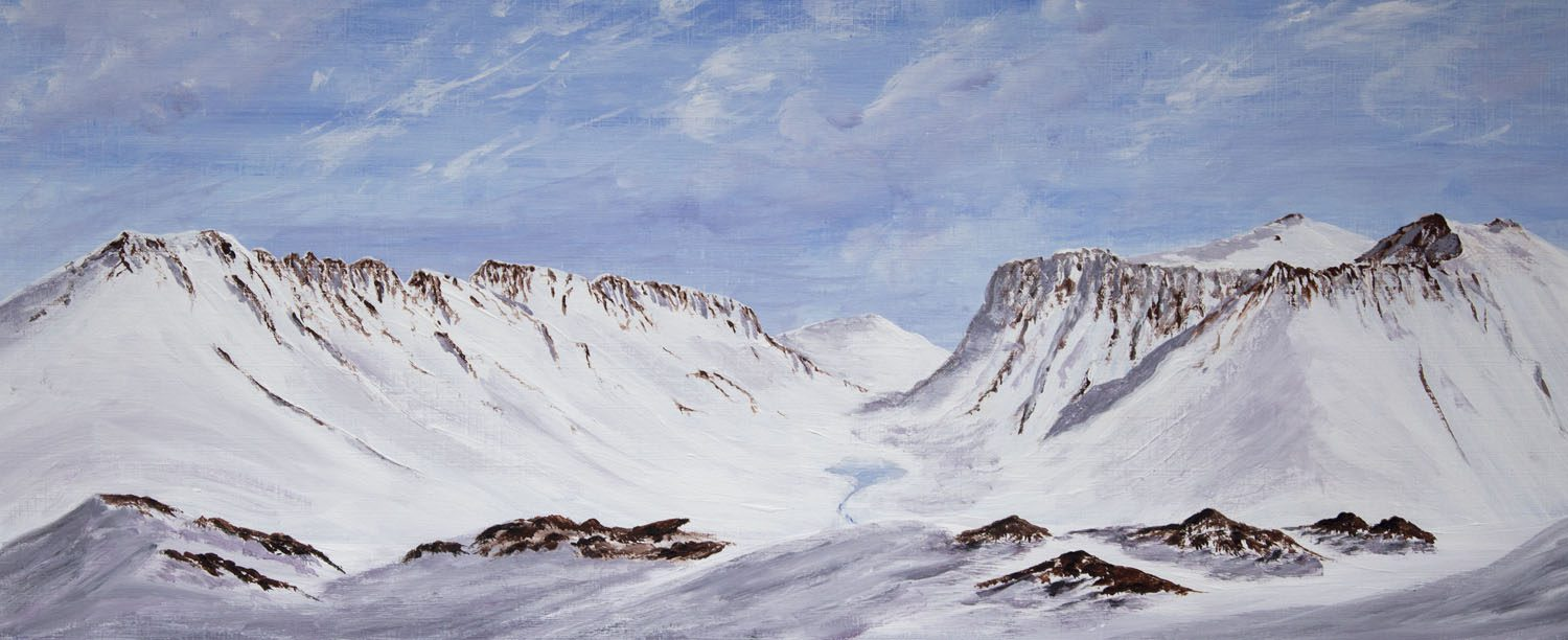 Original acrylic painting the Glencoe-The Glen in winter