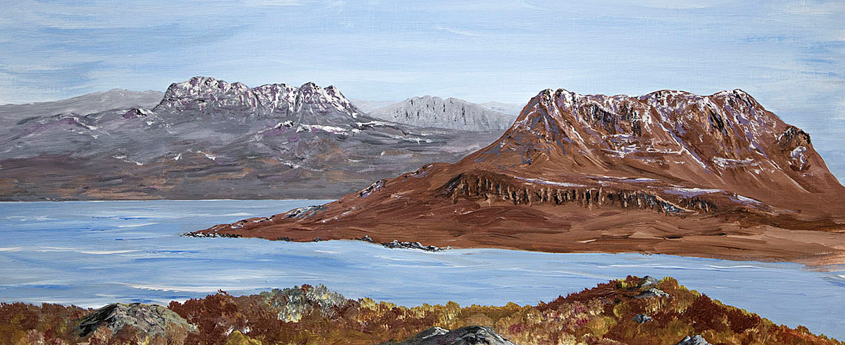 Original Acrylic Painting of Suilven and Cul Mor from Stac Pollaidh