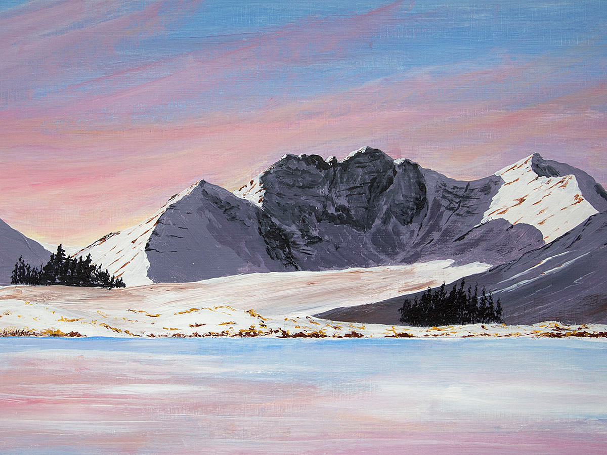 Original Acrylic Painting of An Teallach in Winter across Loch Droma, Scottish Highlands