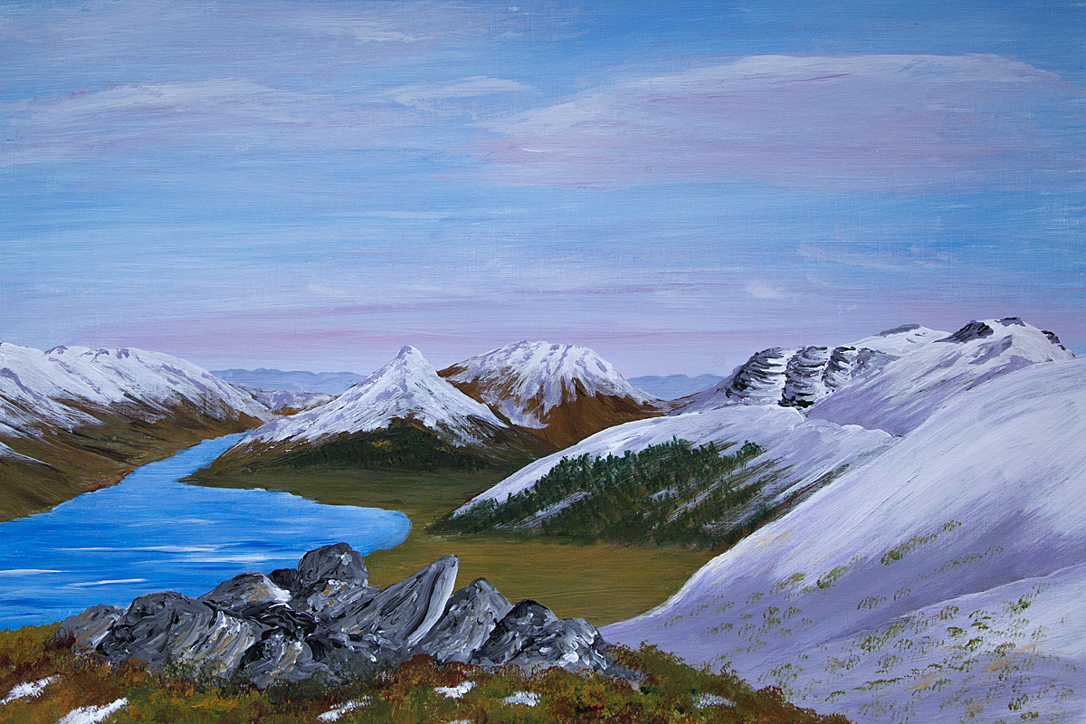 Original acrylic painting of The Glen, Glencoe, Scottish Highlands