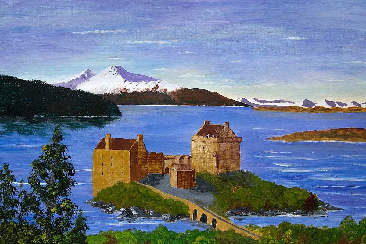 Original Acrylic Painting of Eilean Donan Castle, Scottish Highlands