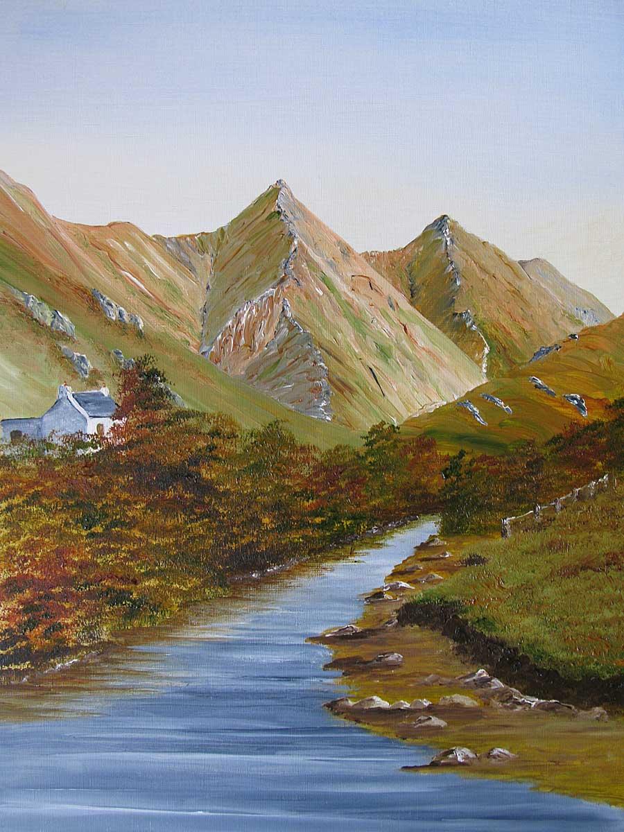 Original Oil painting of Sgurr Fhuaran, Glen Shiel, from River Shiel