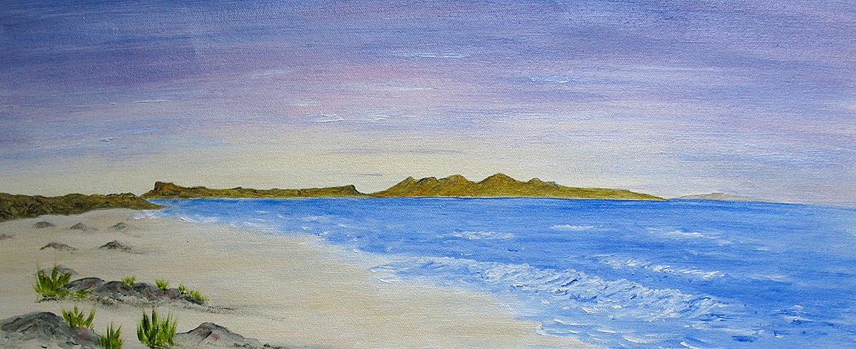 Original Oil painting of Rum and Eigg from Camasdarach Beach