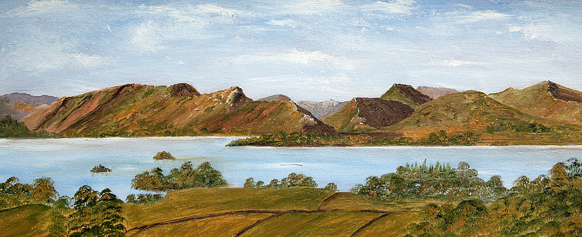 Original Oil painting of Across Derwentwater from Castle Head