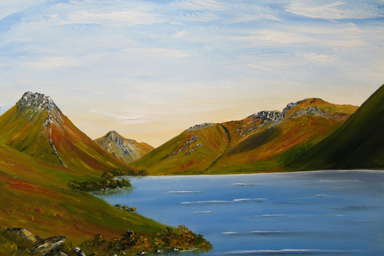 Original Oil Painting of Wastwater, Great Gable, and The Scafells