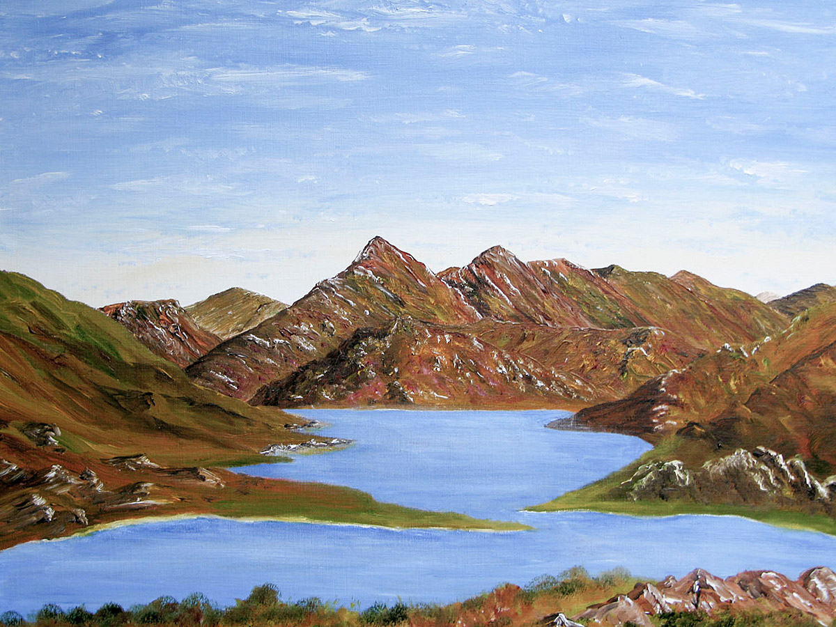 Knoydart across Loch Nevis framed winter oil painting for sale, from the online gallery of Scottish Landscape Artist Sandra Hugil