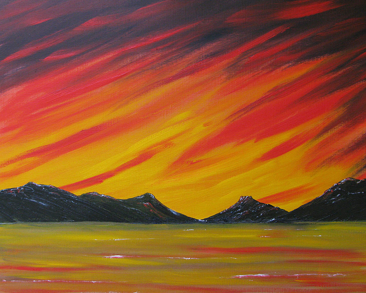Original Oil painting of Stac Pollaidh Sunset, Scottish Highlands