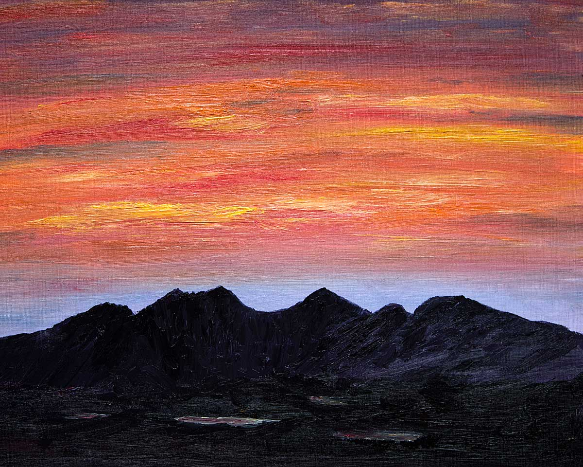Original Oil Painting of An Teallach Sunset for sale