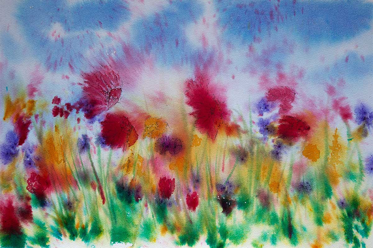 Original Brusho Painting of Flowers of The Hebridean Machair