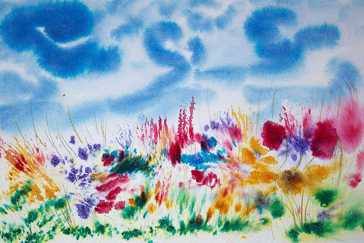 Original Brusho Painting of Flowers of The Hebridean Machair