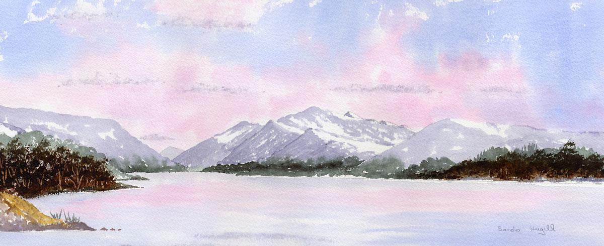 Original Watercolour Painting of Llyn Padarn, Snowdonia in Winter