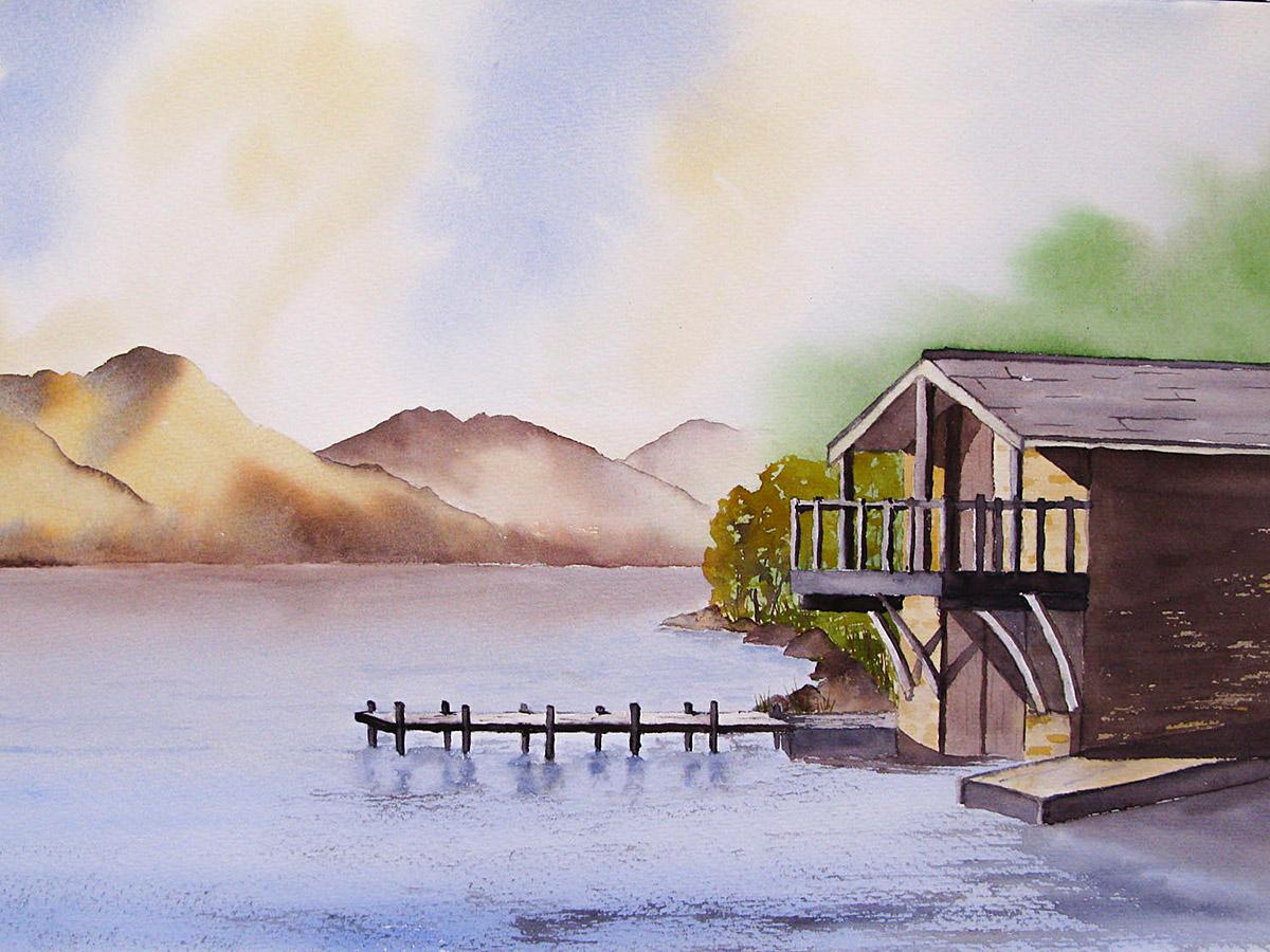 Original Watercolour Painting of Duke of Portland Boathouse, Ullswater, the Lake District