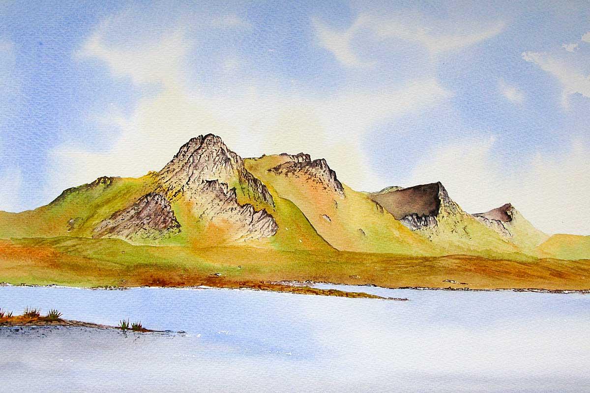 Original watercolour painting of Ben Loyal, Sutherland