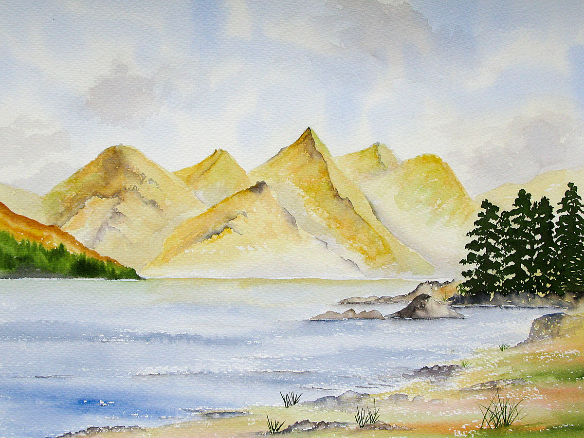 Original Watercolour Painting of Five Sisters of Kintail from Ratagan