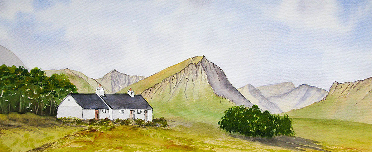 Original watercolour painting of Blackrock cottage and the Buachaille Etive Mor, Glencoe
