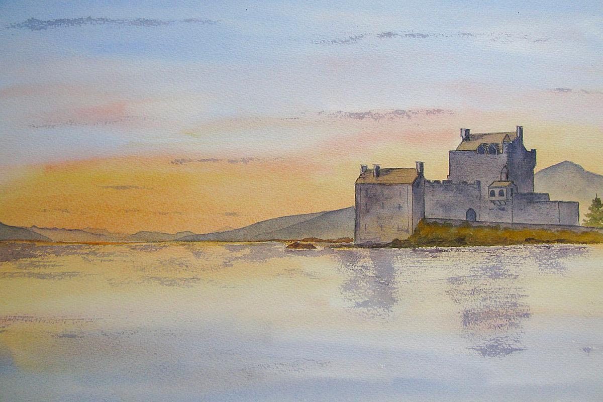 Eilean Donan Castle at sunset - original watercolour painting