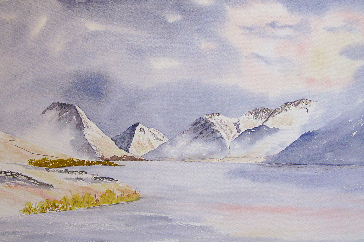 Great Gable, Scafell pike, Scafell and Wastwater original watercolour painting