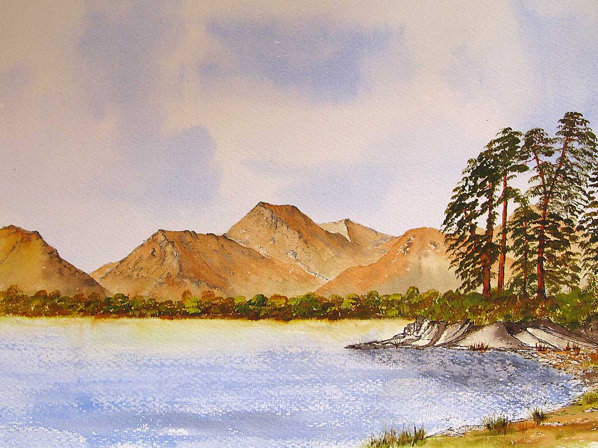 Original watercolour painting of Derwentwater with Friars Crag