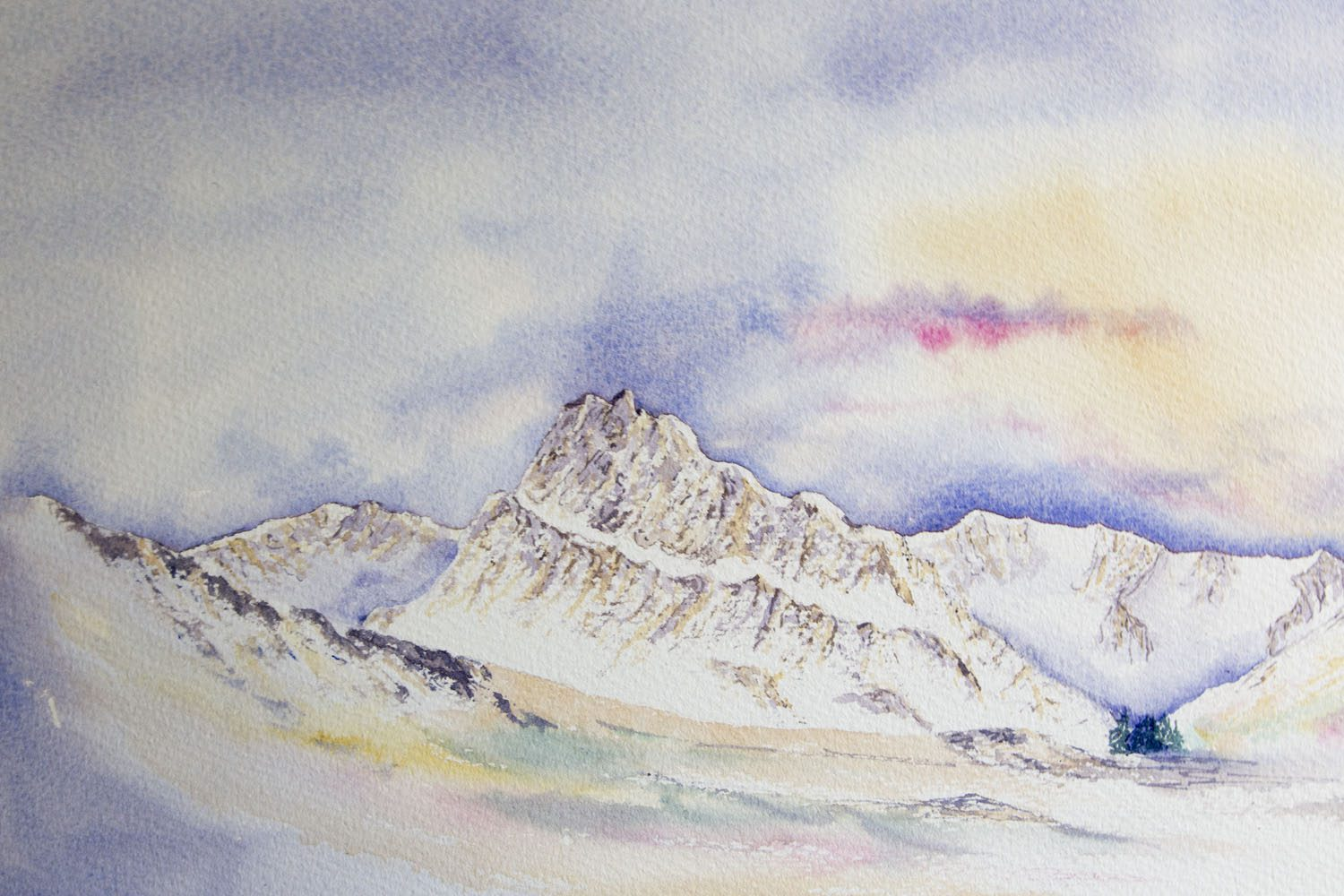 Original watercolour Painting of Tryfan and the Ogwen valley in Winter, Snowdonia
