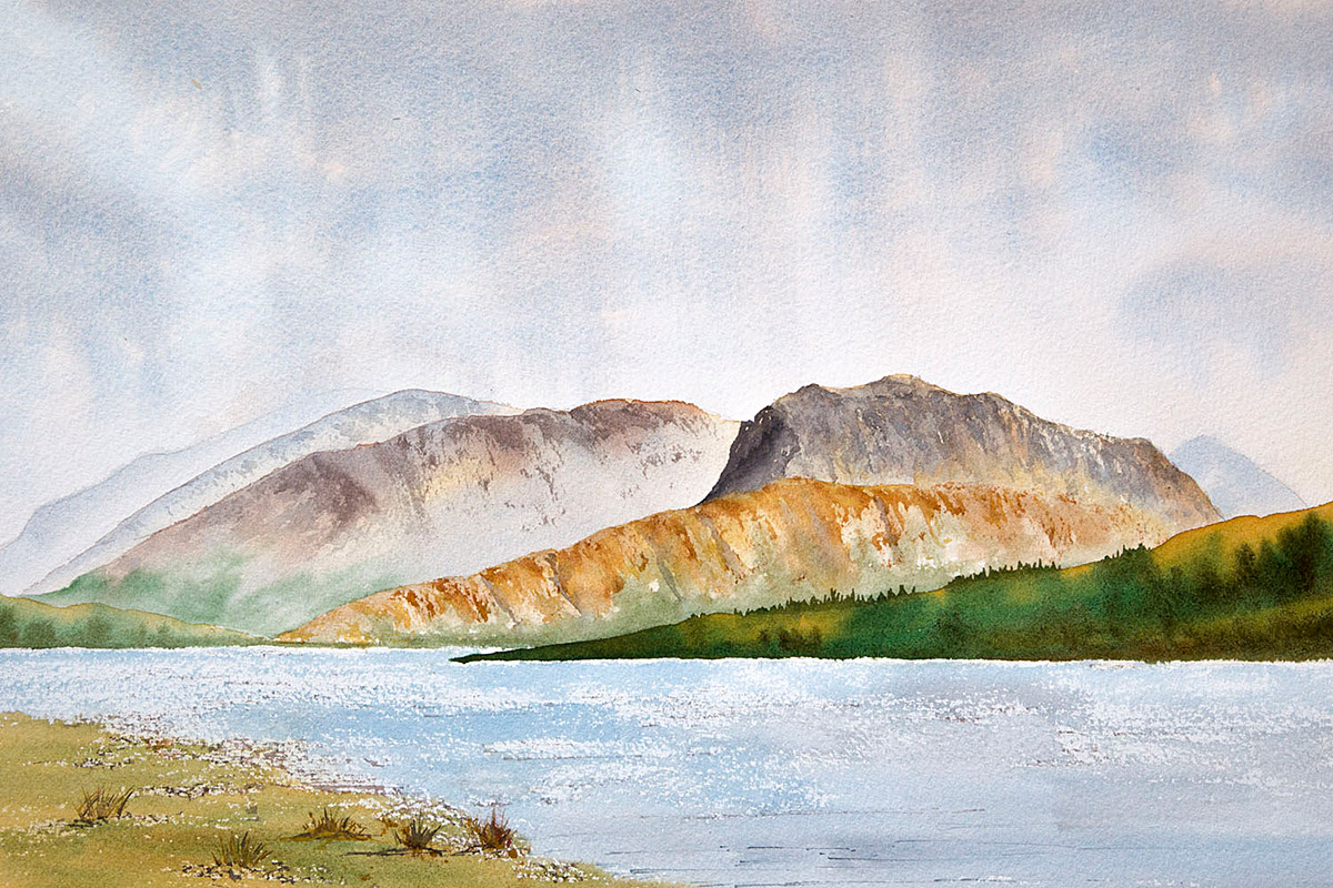 Ben Nevis clouds across Loch Eil, original watercolour painting