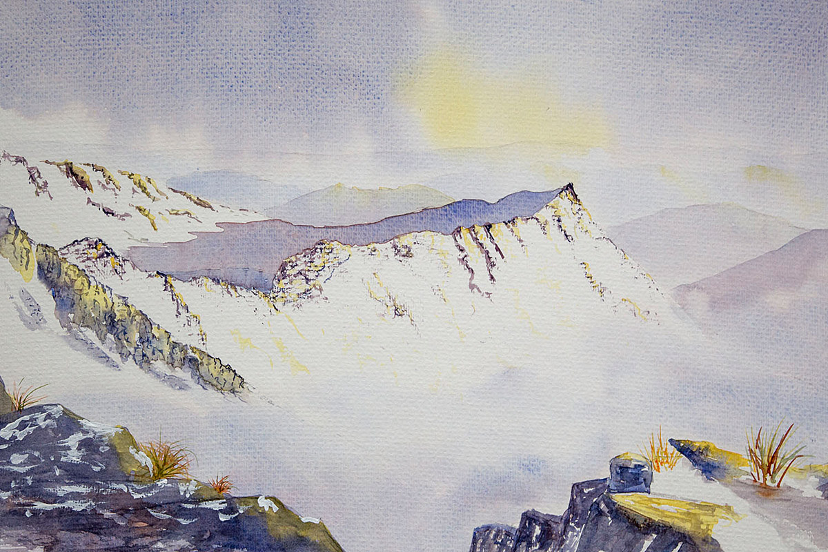 Original Watercolour Painting of Striding Edge, Helvellyn in Winter
