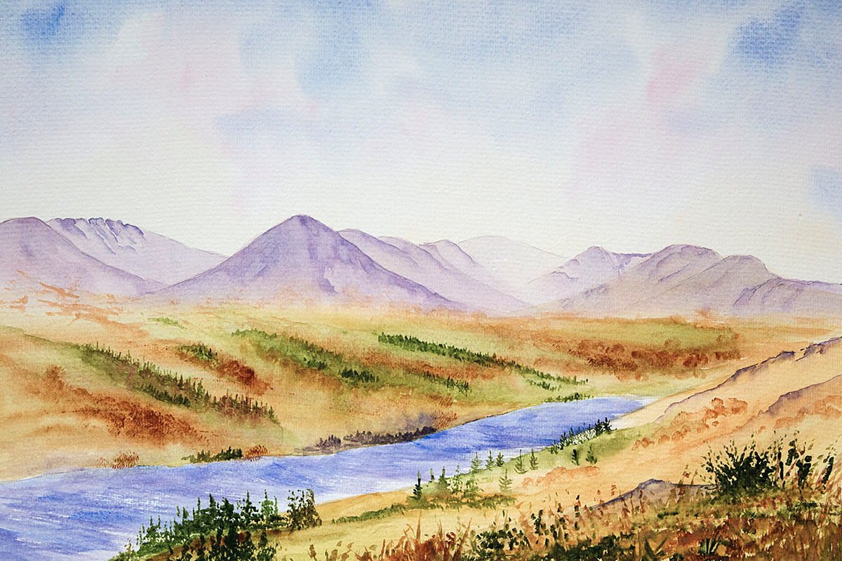 Original Watercolour Painting of Coniston Water, looking towards the Old Man of Coniston