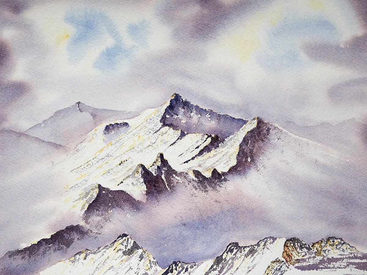 Original watercolour painting of The Aonach Eagach Ridge in winter, Glencoe