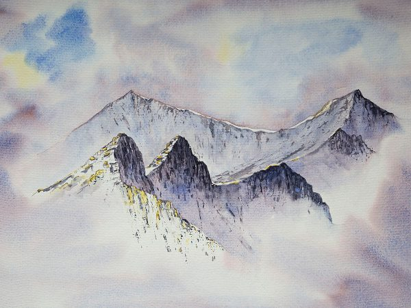 Crib Goch ridge in winter