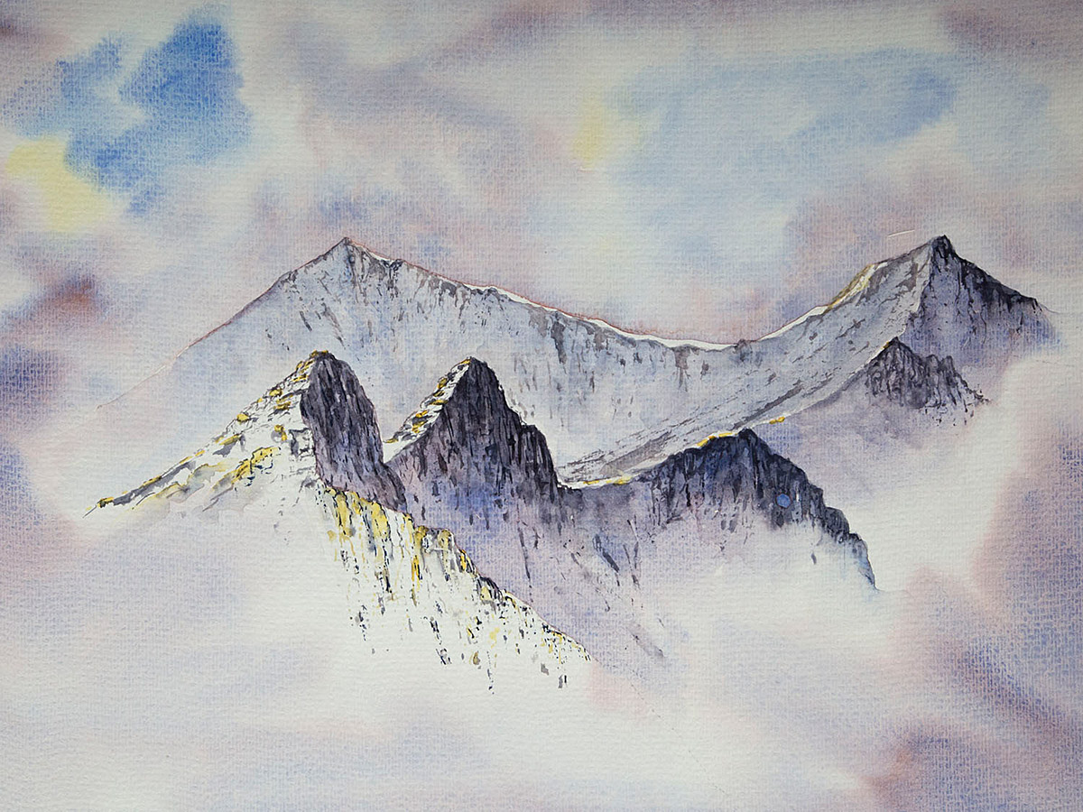 Original watercolour painting of Crib Goch ridge in winter, Snowdon