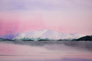 Original watercolour painting of Simply Skiddaw, Derwentwater, the Lake District