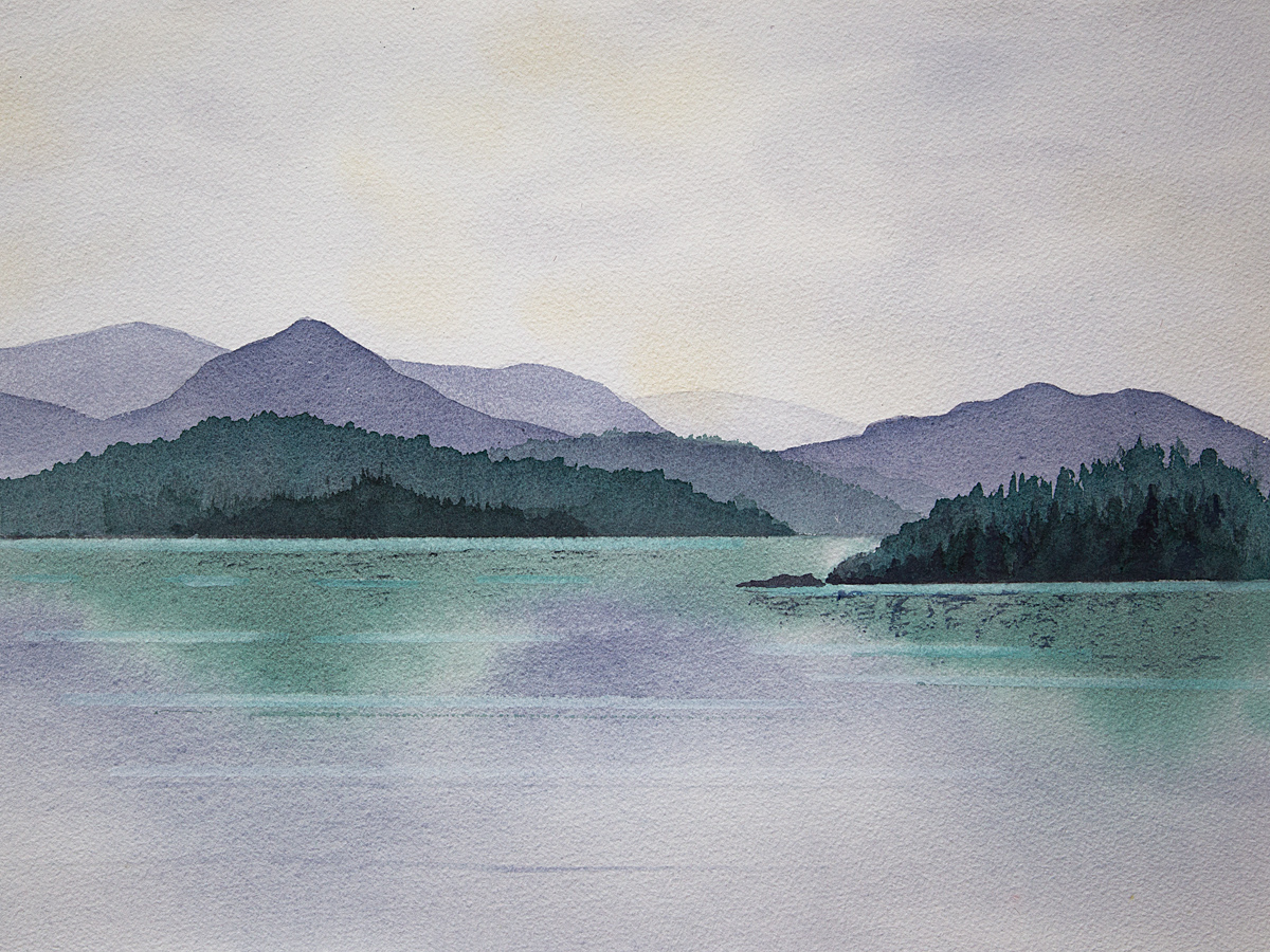 Original Watercolour painting of a misty day in Glen Affric, Scottish Highlands