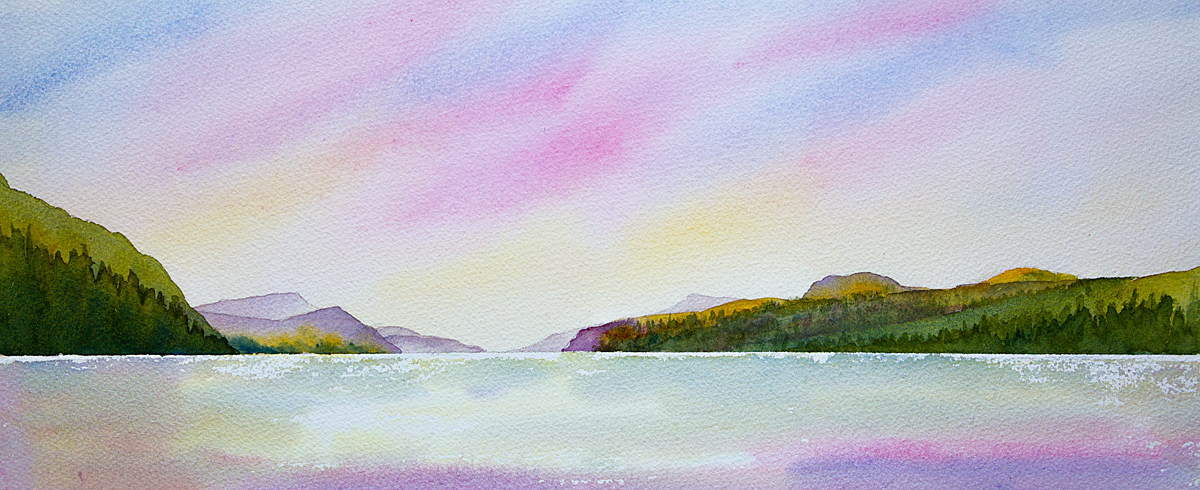 Original watercolour painting of Loch ness Sunset seen from Dores