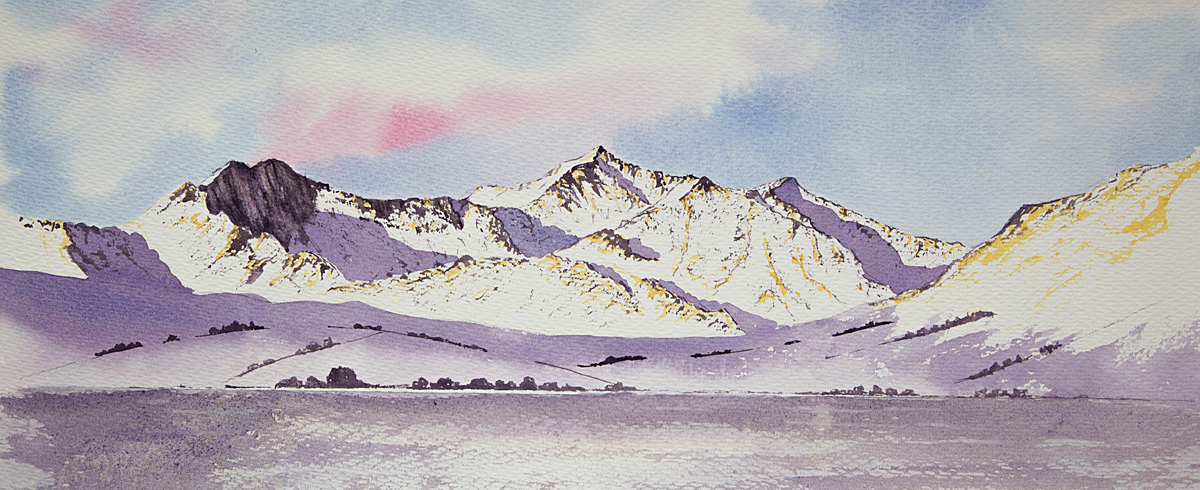 Original watercolour painting of Simply Snowdon, winter on the mountains of Snowdonia