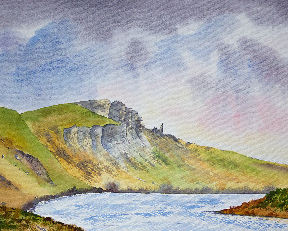 Original watercolour Painting of Old Man of Storr from Storr Lochans