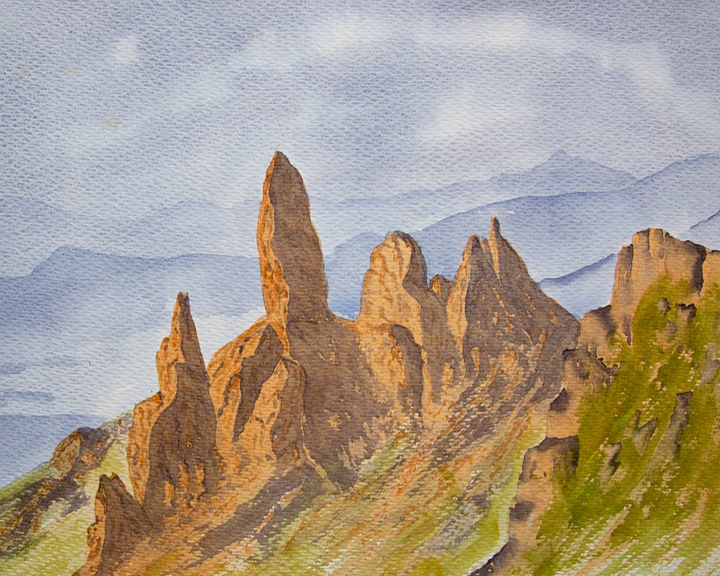 Old Man of Storr, Isle of Skye watercolour painting for sale