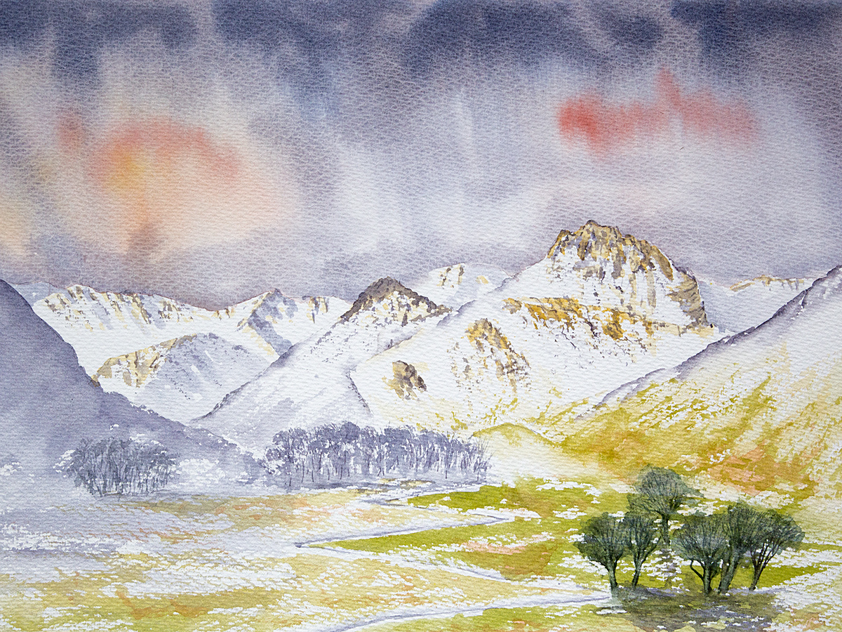 Original watercolour painting of Simply the Langdale Pikes