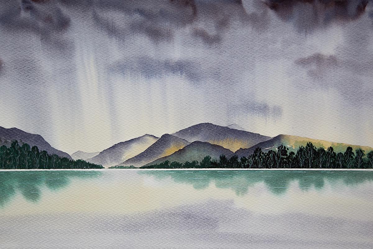 Original watercolour Painting of Llyn Padarn Storm Clouds, Snowdonia